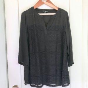 NWT Sharagano Black Lace Detail Blouse 2X